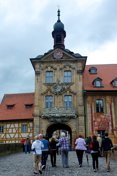 The tower and gate lead to the Altes Rathaus which sits in the middle of this bridge over the Regnitz River.