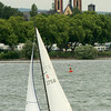 Sailing the Rhine in front of Rheingauer Dom in Geisenheim.