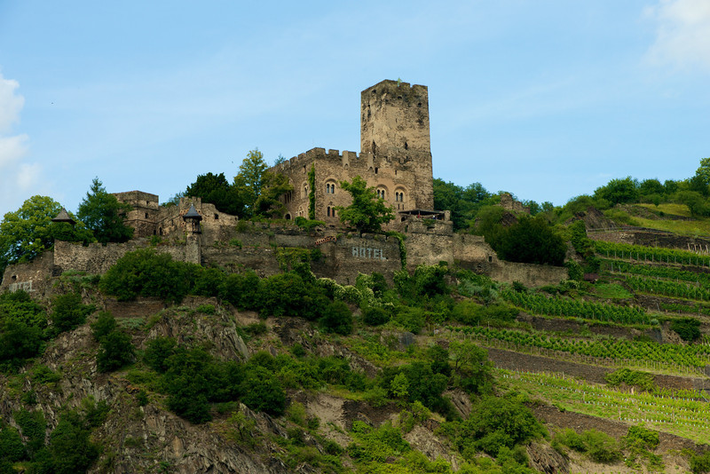 Gutenfels Castle near Kaub, Germany.  Sits above the Pfalzgrafenstein Island Fortress.