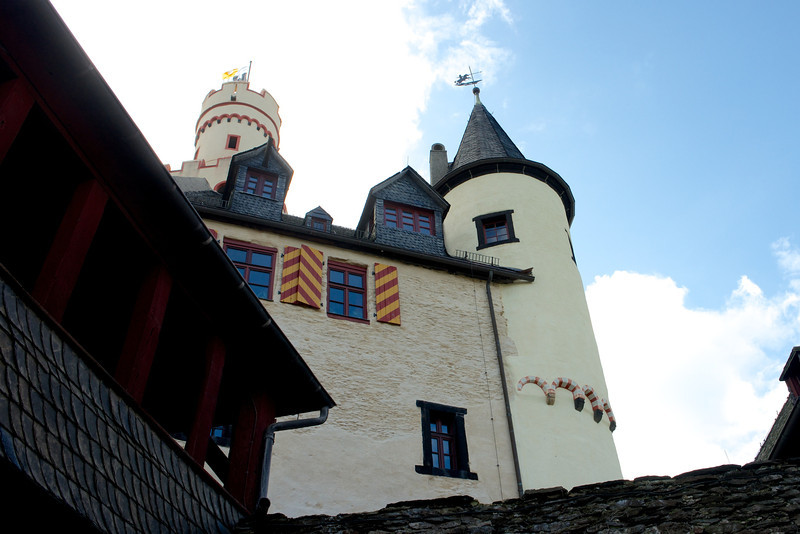 The castle was restored in the 1940's after artillery damage from American guns.