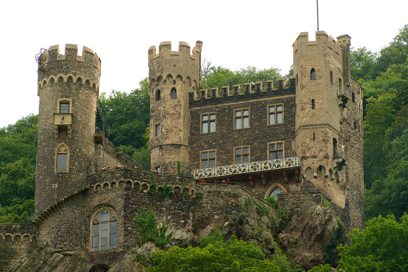 Rheinstein Castle, Trechtingshausen.  Situated 270 feet above the Rhine River originally built in 900 AD.