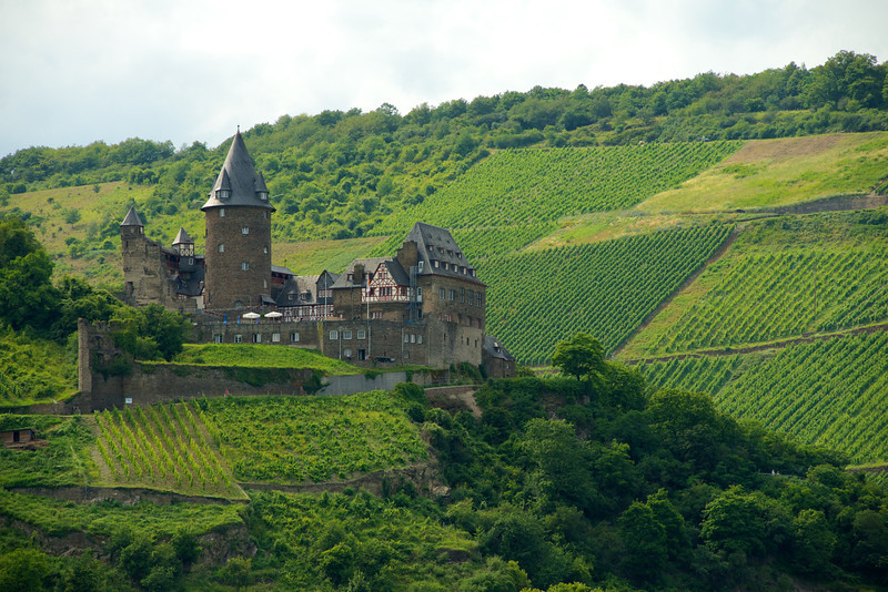 Stahleck Castle high on a hill overlooking the town of Bacharach.
