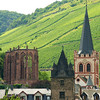 The gothic ruin, Werner Keppelle, at left, and the old town hall and St. Peter's Church in Bacharach, Germany.