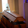 A reusable coffin on display at the abbey.