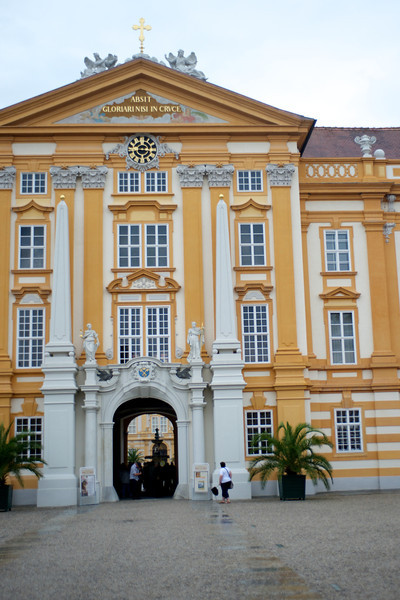 The Melk Abbey in the Baroque style sits high above the Danube.