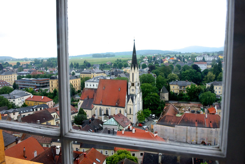 A view from the abbey window overlooking the town.