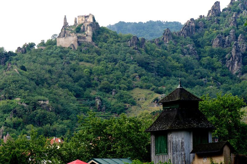 The ruins of Kuenringer Castle high above Dürnstein. This is the fortification where King Richard the Lionheart (England) was held captive by Duke Leopold V of Austria in 1192-93 during the Third Crusade.