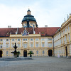 The Prelates' Courtyard at Melk Abbey topped by statues of the prophets and displaying frescoes of the cardinal virtues.