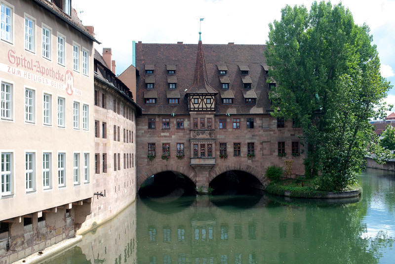 On the banks of the Pegnitz River sits the Heilig-Feist-Spital (Hospital of the Holy Spirit) founded in 1332.  It now houses an old folks home.
