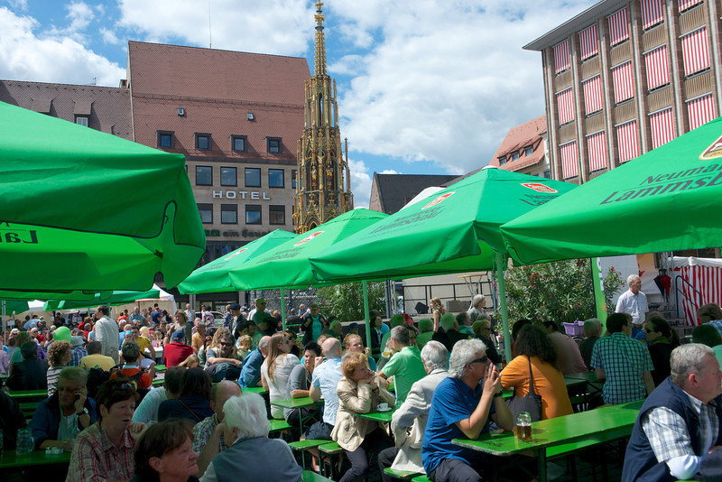 The Hauptmarkt at 2:30 in the afternoon with Schöner Brunnen in the background.