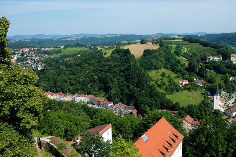 The view from the Veste Oberhaus of the countryside east and south of Passau.