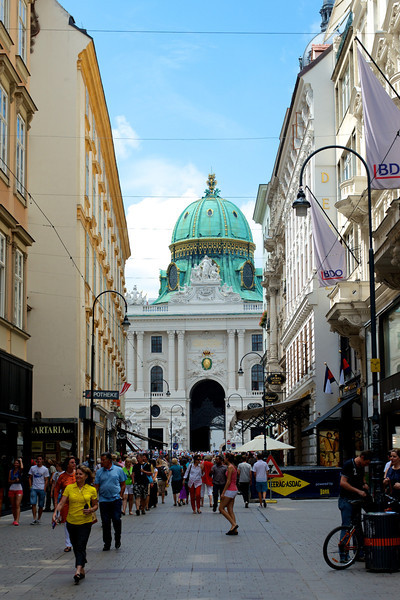 Kohlmarkt Street leading to Michaelplatz and Hofburg Palace.