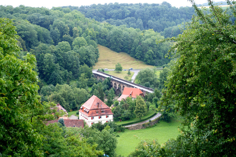 Peering across the landscape and the Tauber River in Rothenberg.