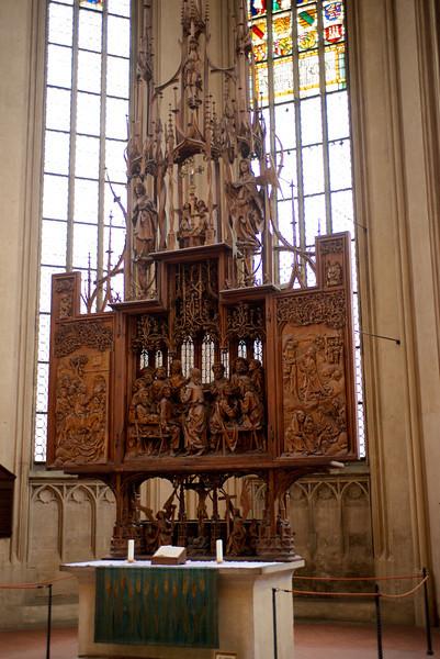 In St. Jakob's Kirche, an altar sculpture by Tilman Riemenschneider.