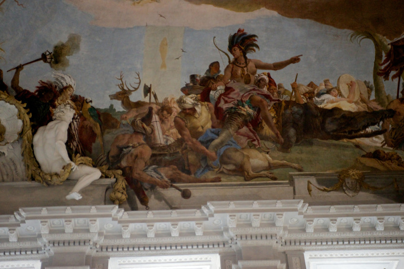 The entrance staircase with the world's largest ceiling fresco by Giovanni Battista Tiepolo.