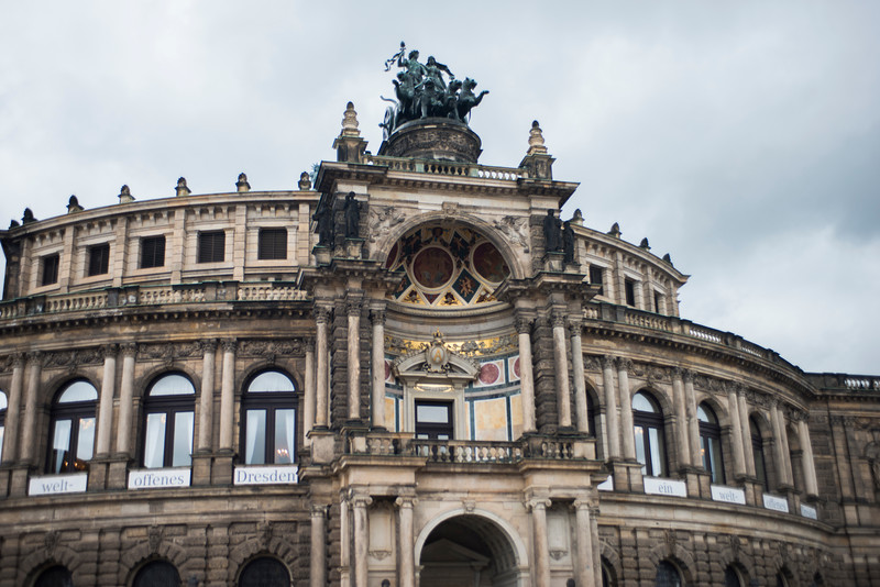 The Semperoper, the Dresden state opera house.  It was destroyed during the 1945 Allied bombing, and was rebuilt in 1985.