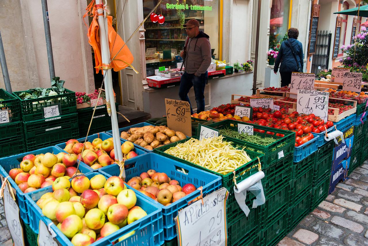 Fresh produce at this Meissen street market.