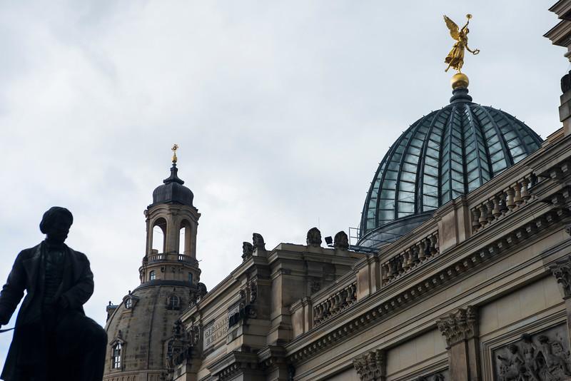 Frauenkirche and Kunstakademie Dome in Dresden.