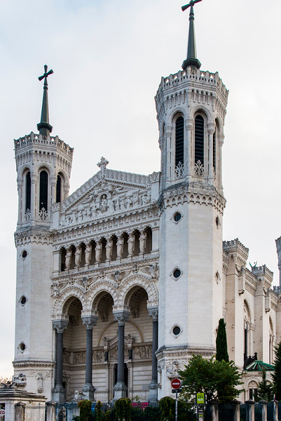 La Basilique Notre Dame de Fourvière, Lyon, France. Erected with private funds from 1872-1884.  It was built on the former site of the Roman forum of Trajan and overlokks the entire city of Lyon.