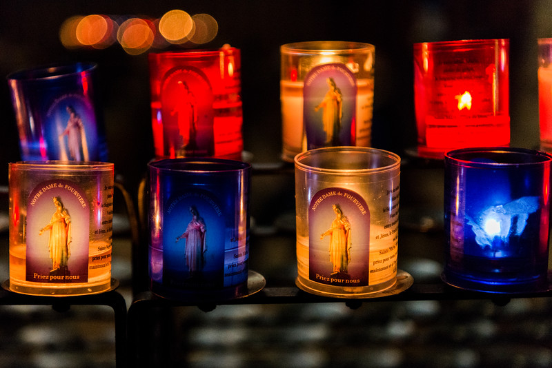 La Basilique Notre Dame de Fourvière (Priez pour nous: pray for all).  Each year, on December 8, the Feast of the Immaculate Conception, the Festival of Lights is celebrated whereby candles are illuminated throughout Lyon.