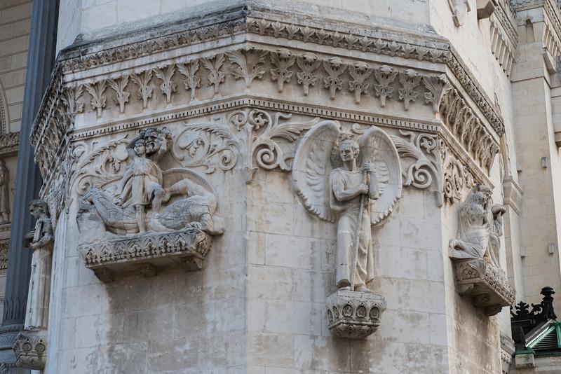 La Basilique Notre Dame de Fourvière, dislplaying the Byzantine stlye.  Designed by the architect Pierre Bossan of Lyon.