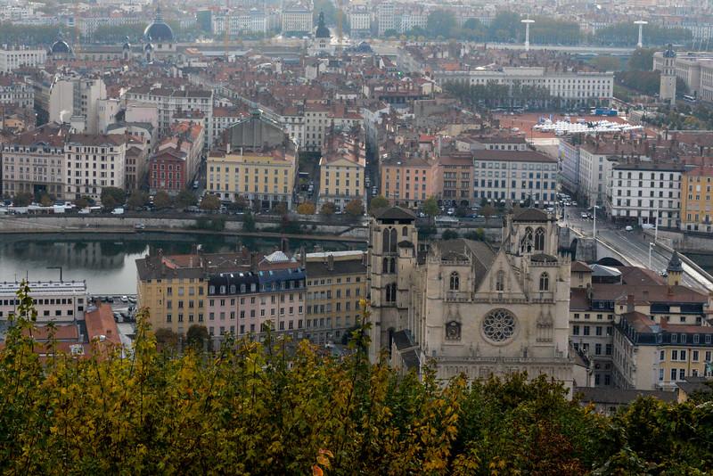 From La Basilique Notre Dame de Fourvière, Lyon, France, overlooking the Saône River.