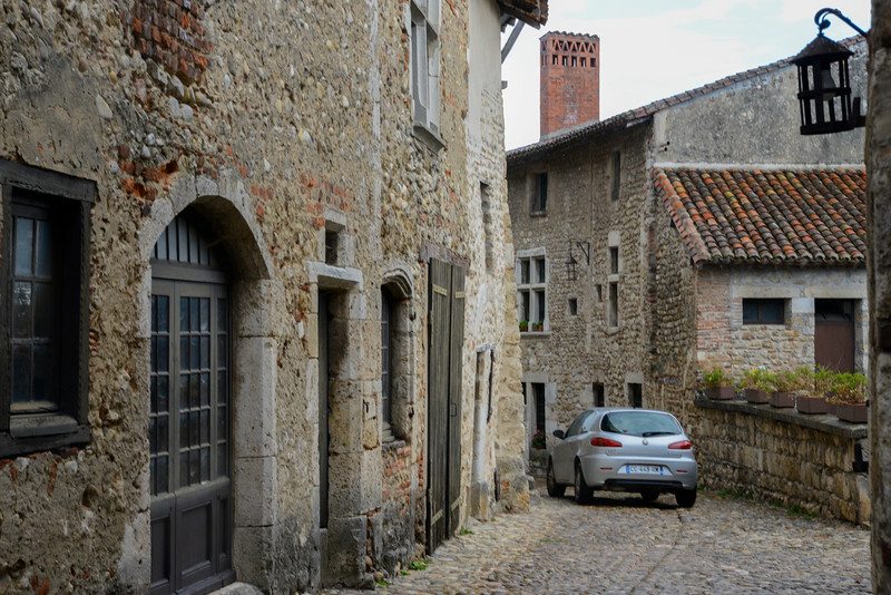 City of Pérouges, France, with narrow passageways.