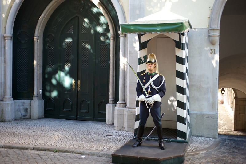 A guard at the National Guard Headquarters  in Lisbon, the former Convento Do Carmo, a Roman Catholic convent.