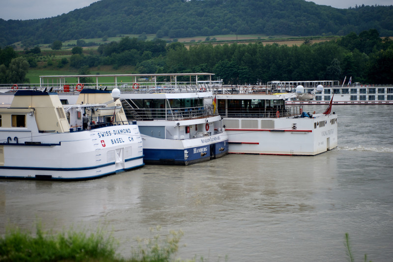 Merge docking with the Embla on the far side of the river in Melk, Austria.