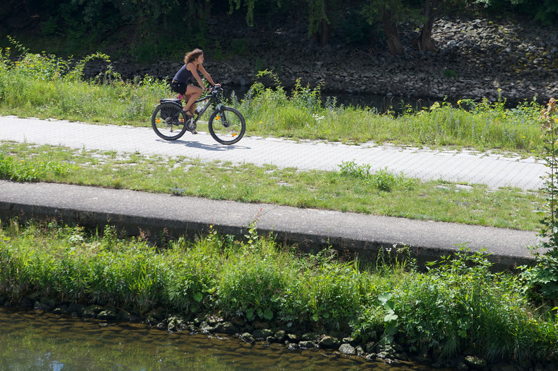 Bike paths lined the three rivers we traveled.  Here, the Danube near Regensburg.