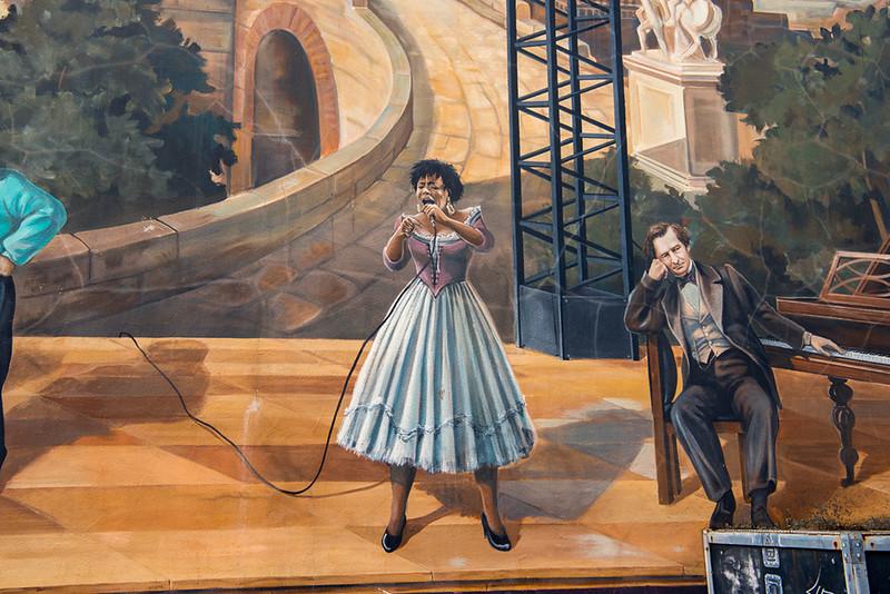 Closeup  of a Trompe L'oeil wall mural, Vienne.