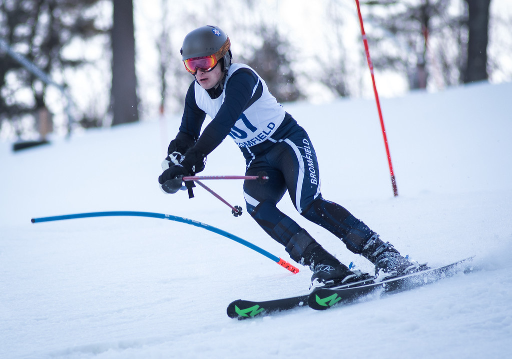 . Varsity Bromfield skier, Patrick Kieran, cuts an edge on the slalom course during Monday\'s area competition at Nashoba Valley Ski Area.   Photo:  Scot Langdon / SUN