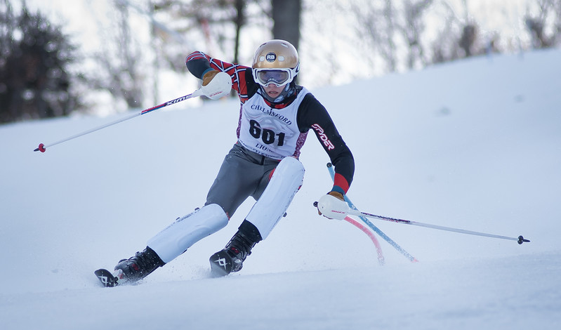 Varsity skier, Ryan Hart of Chelmsford, works the slalom course during Monday's area competition at Nashoba Valley Ski Area.  <br /> Photo:  Scot Langdon / SUN