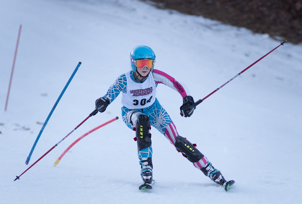. Danielle Mitrano, Varsity skier from Westford Academy,  takes to the slopes during Monday\'s area competition at Nashoba Valley Ski Area.   Photo:  Scot Langdon / SUN