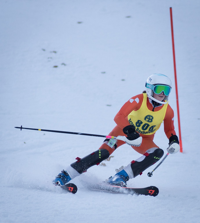 . Varsity skier, Erin Smith of Acton-Boxborough, works the right side slalom course during Monday\'s area competition at Nashoba Valley Ski Area.   Photo:  Scot Langdon / SUN
