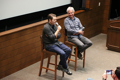 """Look and See"" post-screening Q&A with Nick Offerman and Steve Paulson of WPR, part of Nick Offerman Day, 4/4/17"