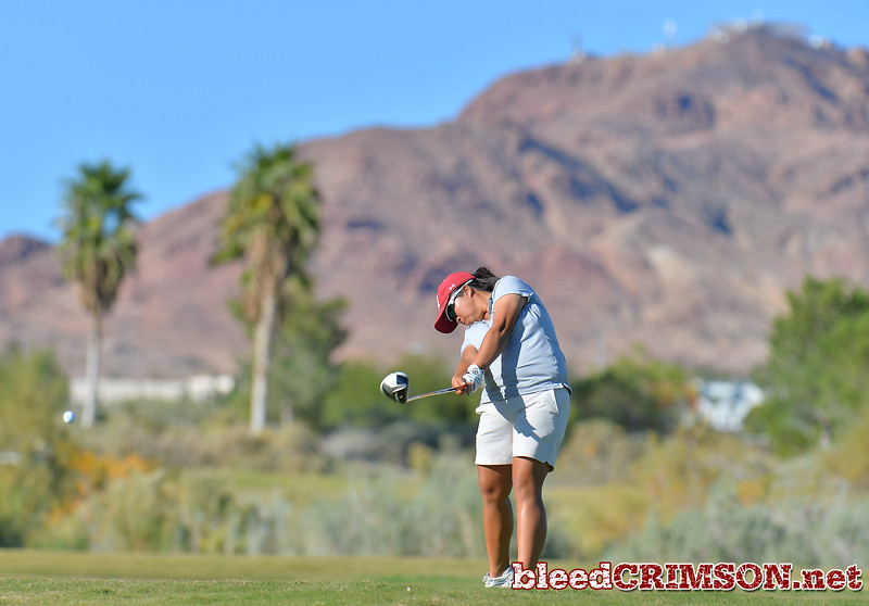 LAS VEGAS, NV - OCTOBER 22:  Pun Chanachai of the New Mexico State Aggies tees off on the sixteenth hole during the 2017 Las Vegas Collegiate Showdown at the Boulder Creek Golf Course in Boulder City, Nevada.  (Photo by Sam Wasson)