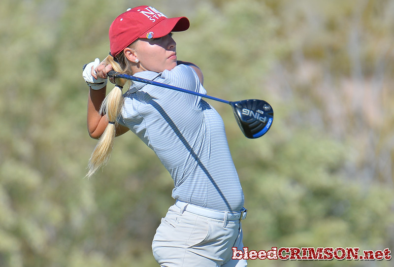 LAS VEGAS, NV - OCTOBER 22:  Dominique Galloway of the New Mexico State Aggies watches her tee shot on the eleventh hole during the 2017 Las Vegas Collegiate Showdown at the Boulder Creek Golf Course in Boulder City, Nevada.  (Photo by Sam Wasson)