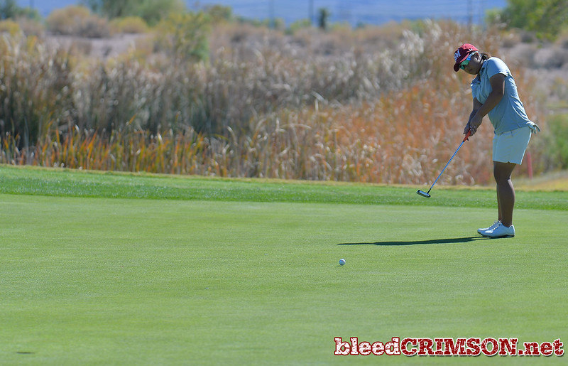 LAS VEGAS, NV - OCTOBER 22:  Pun Chanachai of the New Mexico State Aggies hits a putt on the sixth hole during the 2017 Las Vegas Collegiate Showdown at the Boulder Creek Golf Course in Boulder City, Nevada.  (Photo by Sam Wasson)