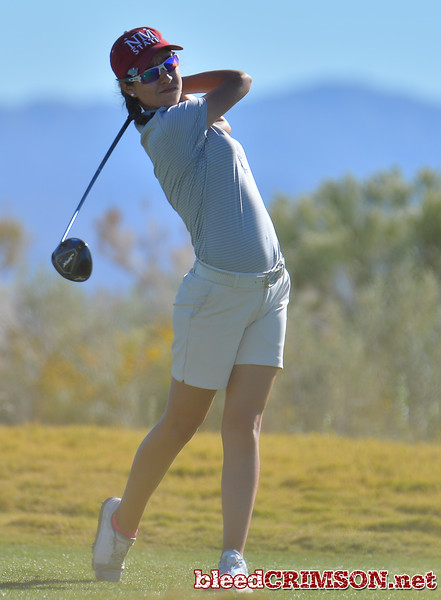 LAS VEGAS, NV - OCTOBER 22:  Maria Prado of the New Mexico State Aggies watches her tee shot on the fifteenth hole during the 2017 Las Vegas Collegiate Showdown at the Boulder Creek Golf Course in Boulder City, Nevada.  (Photo by Sam Wasson)