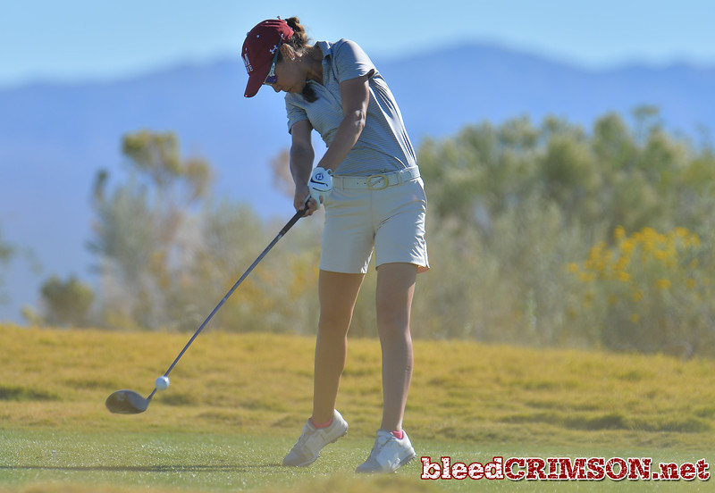 LAS VEGAS, NV - OCTOBER 22:  Maria Prado of the New Mexico State Aggies tees off on the fifteenth hole during the 2017 Las Vegas Collegiate Showdown at the Boulder Creek Golf Course in Boulder City, Nevada.  (Photo by Sam Wasson)
