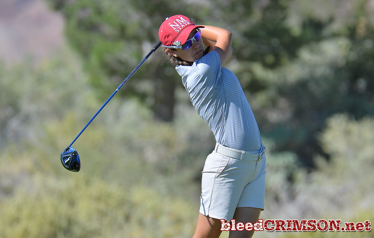 LAS VEGAS, NV - OCTOBER 22:  Maria Prado of the New Mexico State Aggies watches her drive on the tenth hole during the 2017 Las Vegas Collegiate Showdown at the Boulder Creek Golf Course in Boulder City, Nevada.  (Photo by Sam Wasson)