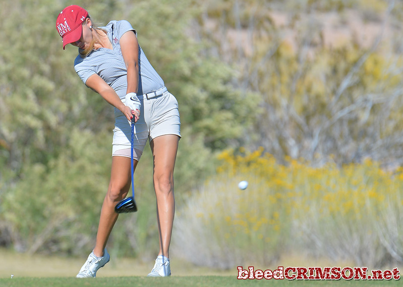 LAS VEGAS, NV - OCTOBER 22:  Dominique Galloway of the New Mexico State Aggies tees off on the eleventh hole during the 2017 Las Vegas Collegiate Showdown at the Boulder Creek Golf Course in Boulder City, Nevada.  (Photo by Sam Wasson)