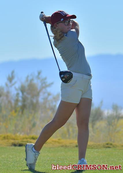 LAS VEGAS, NV - OCTOBER 22:  Tiegan Taylor of the New Mexico State Aggies tees off on the fifteenth hole during the 2017 Las Vegas Collegiate Showdown at the Boulder Creek Golf Course in Boulder City, Nevada.  (Photo by Sam Wasson)