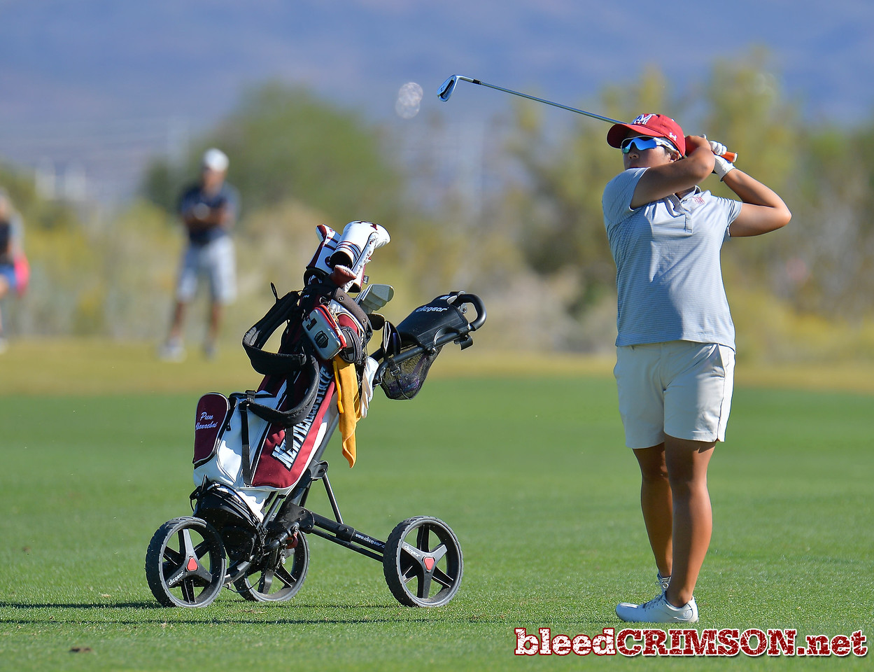 LAS VEGAS, NV - OCTOBER 22:  Pun Chanachai of the New Mexico State Aggies watches her approach shot on the fifteenth hole during the 2017 Las Vegas Collegiate Showdown at the Boulder Creek Golf Course in Boulder City, Nevada.  (Photo by Sam Wasson)