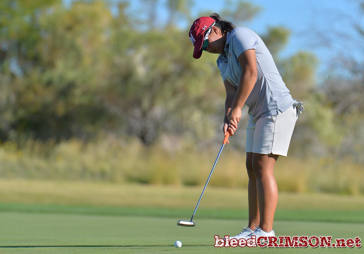LAS VEGAS, NV - OCTOBER 22:  Pun Chanachai of the New Mexico State Aggies hits a putt on the fifteenth hole during the 2017 Las Vegas Collegiate Showdown at the Boulder Creek Golf Course in Boulder City, Nevada.  (Photo by Sam Wasson)