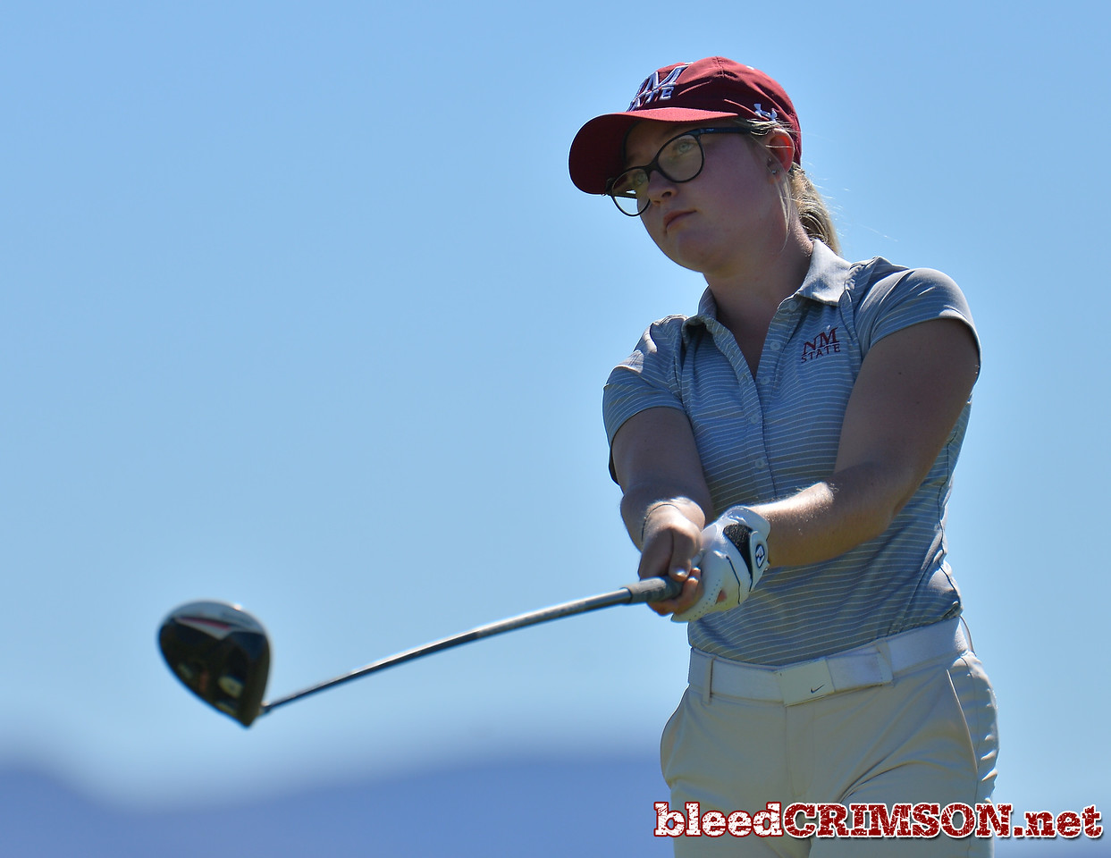 LAS VEGAS, NV - OCTOBER 22:  Tiegan Taylor of the New Mexico State Aggies watches her tee shot on the sith hole during the 2017 Las Vegas Collegiate Showdown at the Boulder Creek Golf Course in Boulder City, Nevada.  (Photo by Sam Wasson)