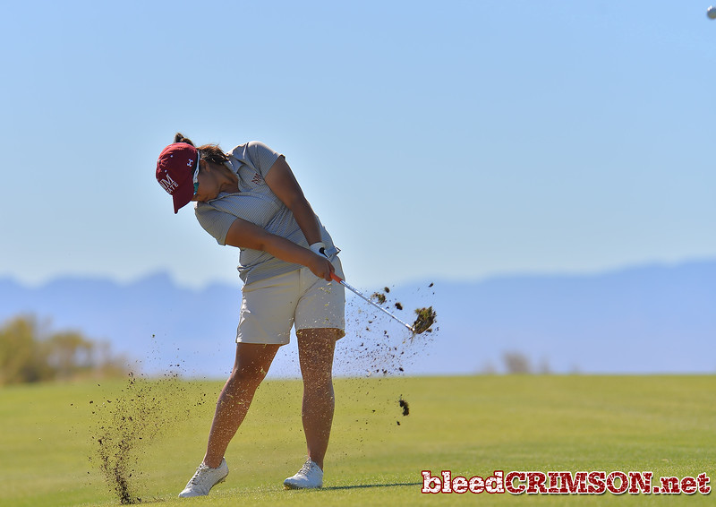 LAS VEGAS, NV - OCTOBER 22:  Pun Chanachai of the New Mexico State Aggies hits an approach shot on the sixth hole during the 2017 Las Vegas Collegiate Showdown at the Boulder Creek Golf Course in Boulder City, Nevada.  (Photo by Sam Wasson)