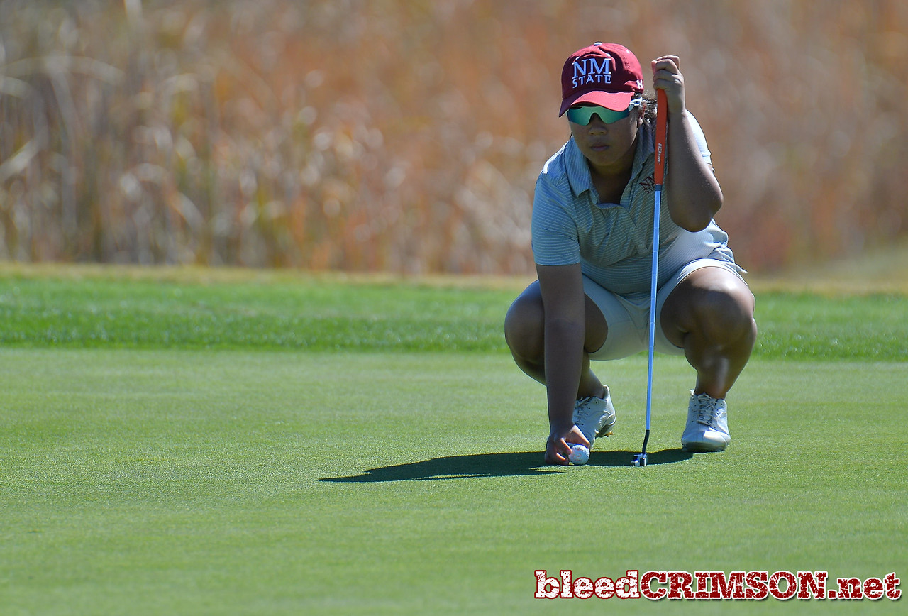 LAS VEGAS, NV - OCTOBER 22:  Pun Chanachai of the New Mexico State Aggies lines up her putt on the sixth hole during the 2017 Las Vegas Collegiate Showdown at the Boulder Creek Golf Course in Boulder City, Nevada.  (Photo by Sam Wasson)