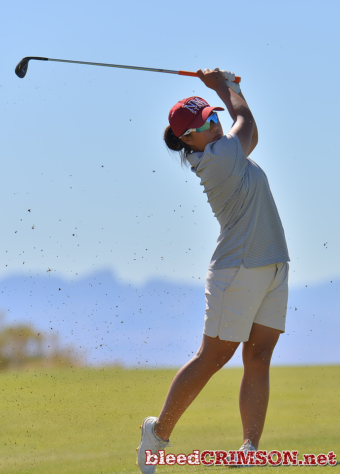 LAS VEGAS, NV - OCTOBER 22:  Pun Chanachai of the New Mexico State Aggies watches her approach shot on the sixth hole during the 2017 Las Vegas Collegiate Showdown at the Boulder Creek Golf Course in Boulder City, Nevada.  (Photo by Sam Wasson)